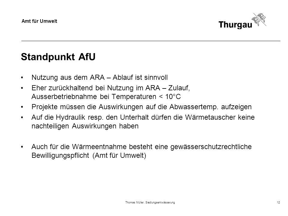 Amt für Umwelt Thomas Müller, Siedlungsentwässerung12 Standpunkt AfU Nutzung aus dem ARA – Ablauf ist sinnvoll Eher zurückhaltend bei Nutzung im ARA –