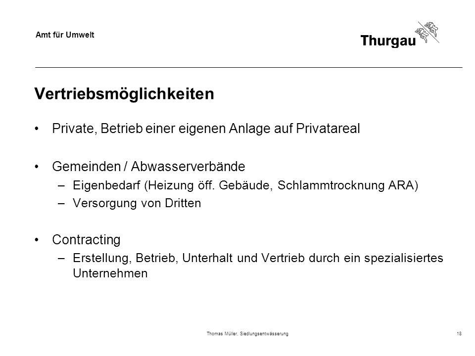Amt für Umwelt Thomas Müller, Siedlungsentwässerung18 Vertriebsmöglichkeiten Private, Betrieb einer eigenen Anlage auf Privatareal Gemeinden / Abwasse