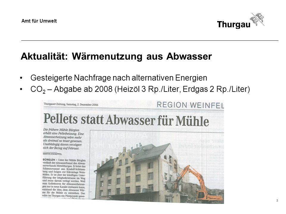 Amt für Umwelt Thomas Müller, Siedlungsentwässerung3 Aktualität: Wärmenutzung aus Abwasser Gesteigerte Nachfrage nach alternativen Energien CO 2 – Abg