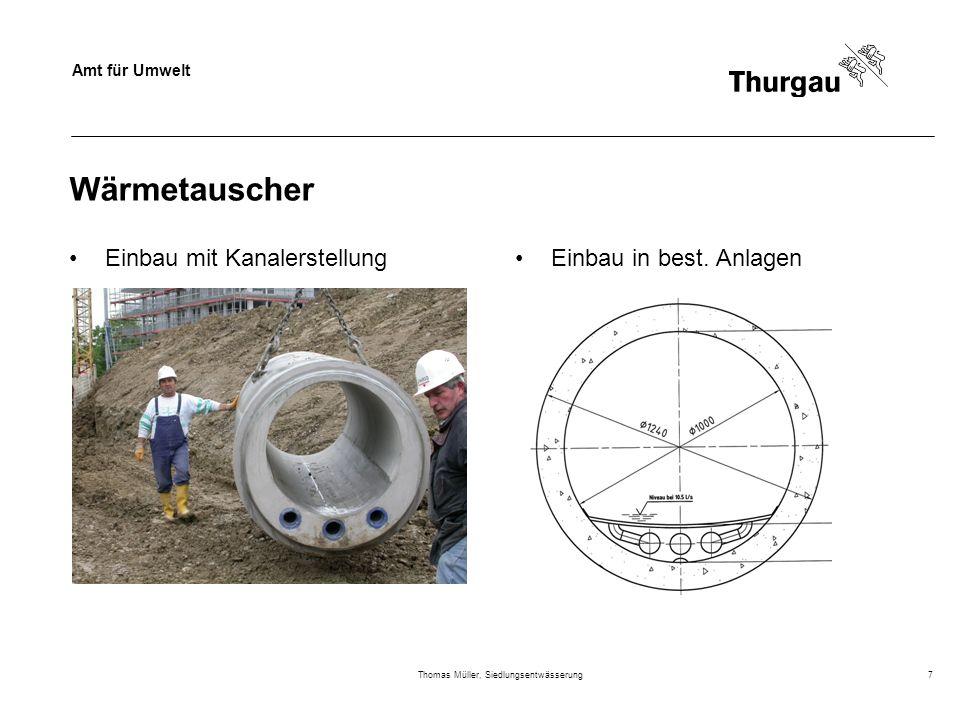 Amt für Umwelt Thomas Müller, Siedlungsentwässerung7 Wärmetauscher Einbau mit KanalerstellungEinbau in best. Anlagen