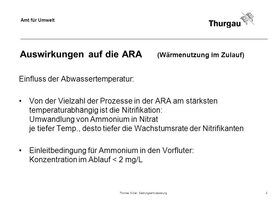 Amt für Umwelt Thomas Müller, Siedlungsentwässerung8 Auswirkungen auf die ARA (Wärmenutzung im Zulauf) Einfluss der Abwassertemperatur: Von der Vielza
