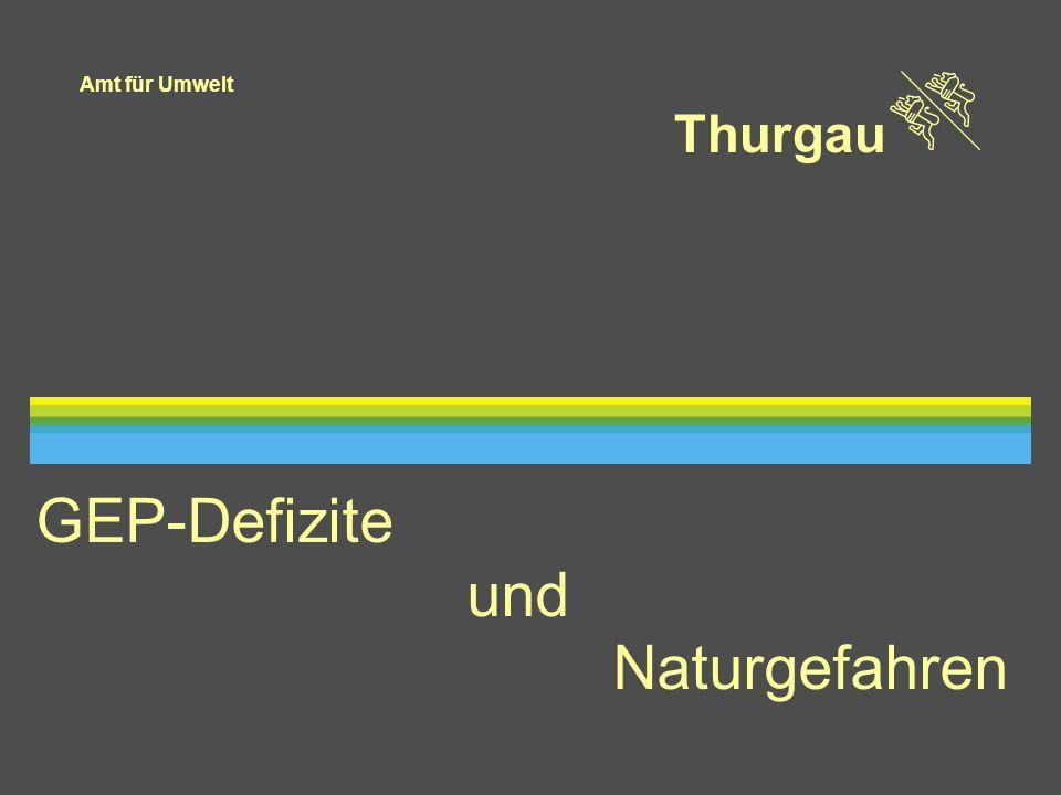 Amt für Umwelt Thurgau 12 Grundlagen Gewässernetz, Einzugsgebiet Kapazitäten Gerinne und ökomorpho- logischer Zustand Rutschungen Niederschläge Oberflächenabfluss GEP-Defizite Jährlichkeiten: 5 – 10 Jahre > 10 - 100 Jahre