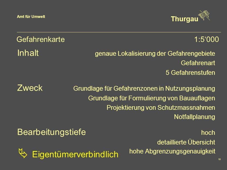 Amt für Umwelt Thurgau 10 Gefahrenkarte1:5000 Inhalt genaue Lokalisierung der Gefahrengebiete Gefahrenart 5 Gefahrenstufen Zweck Grundlage für Gefahre