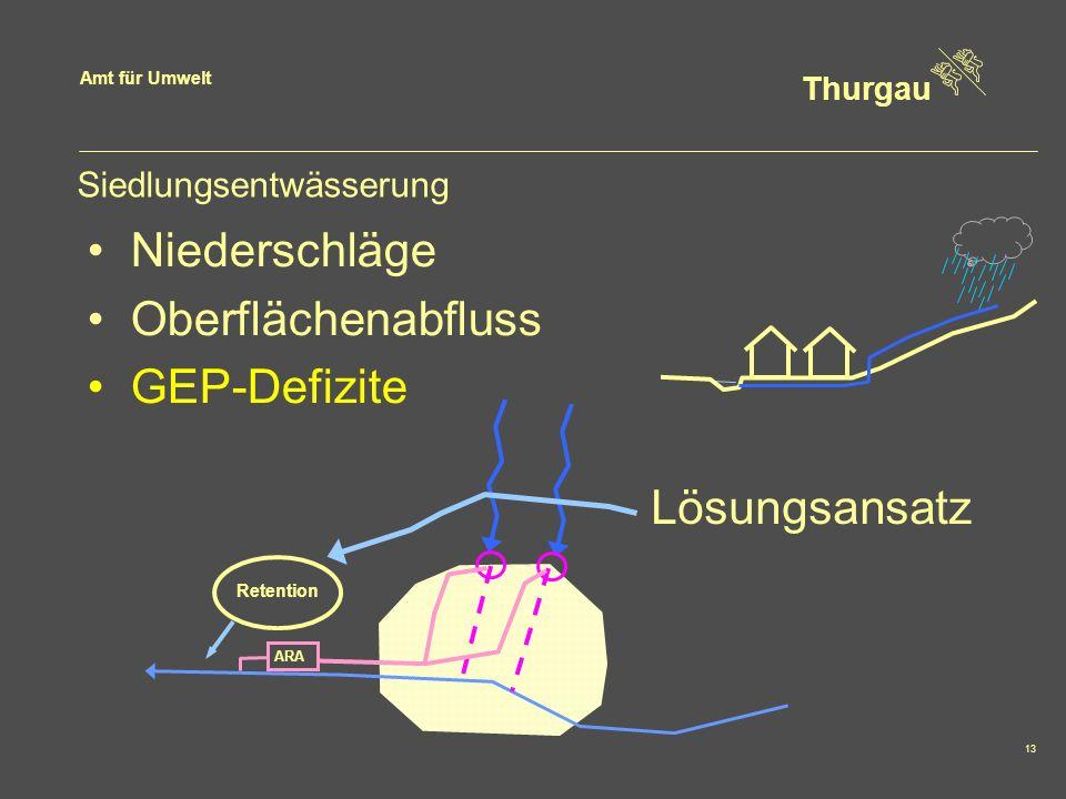 Amt für Umwelt Thurgau 13 Siedlungsentwässerung ARA Retention Niederschläge Oberflächenabfluss GEP-Defizite Lösungsansatz