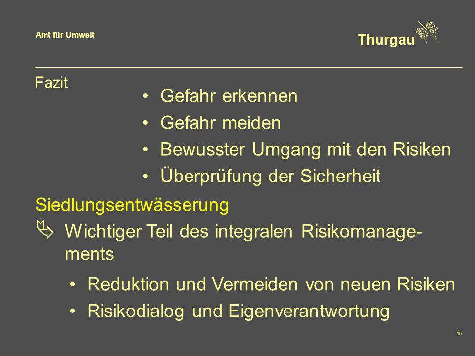 Amt für Umwelt Thurgau 15 Fazit Gefahr erkennen Gefahr meiden Bewusster Umgang mit den Risiken Überprüfung der Sicherheit Siedlungsentwässerung Wichti
