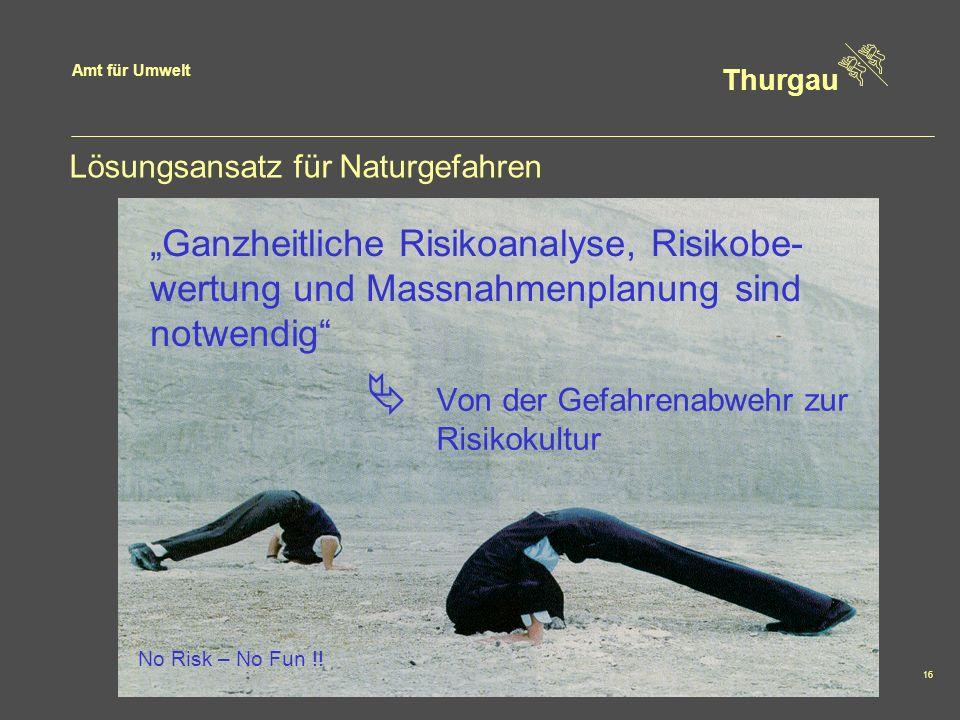 Amt für Umwelt Thurgau 16 Lösungsansatz für Naturgefahren Ganzheitliche Risikoanalyse, Risikobe- wertung und Massnahmenplanung sind notwendig Von der