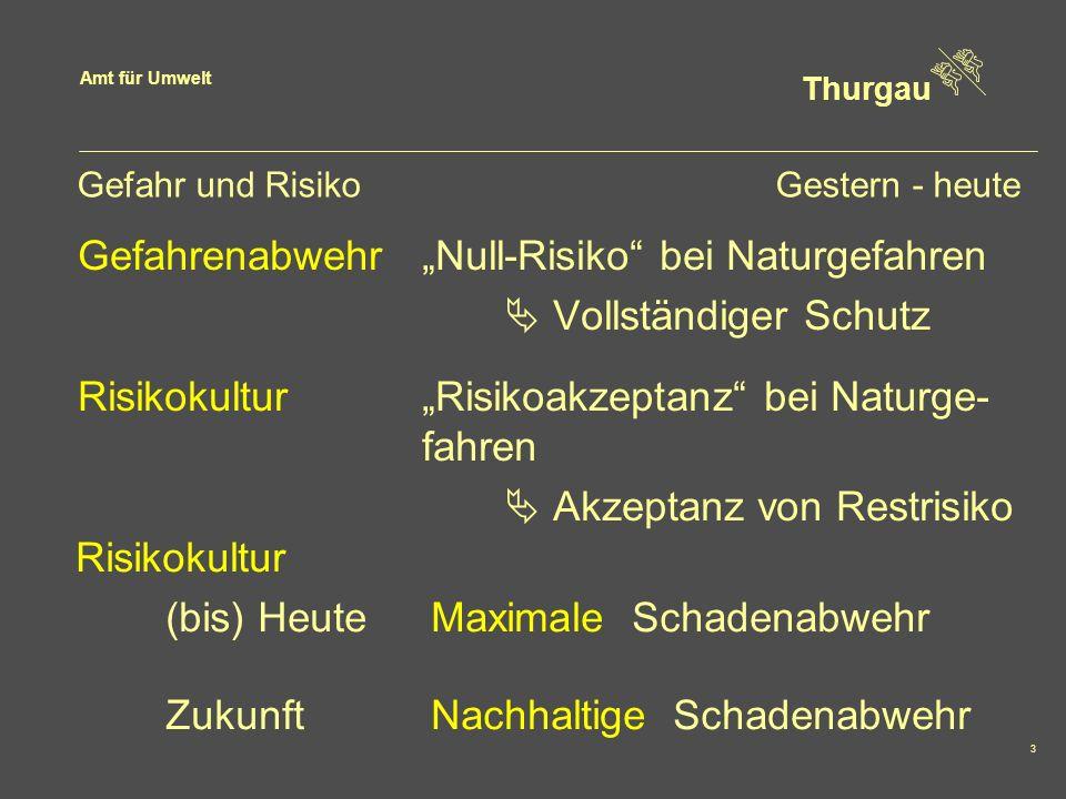 Amt für Umwelt Thurgau 14 Weitere SchritteKanton Gefahrenhinweiskarte abschliessen 2006 Kantonale Richtplanung 2006/2007 Auftrag an Gemeinden Umsetzung in Nutzungsplanung Pilotregion Lützelmurg 2006 Priorisierung 2006 Gefahrenkarten erarbeiten 2006-2010