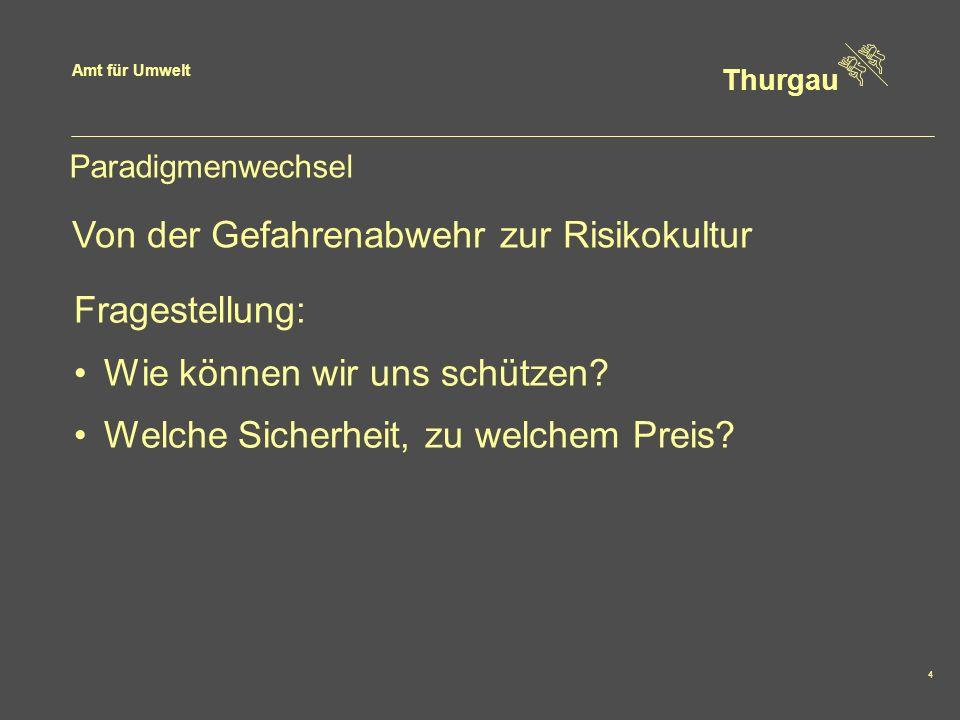 Amt für Umwelt Thurgau 15 Fazit Gefahr erkennen Gefahr meiden Bewusster Umgang mit den Risiken Überprüfung der Sicherheit Siedlungsentwässerung Wichtiger Teil des integralen Risikomanage- ments Reduktion und Vermeiden von neuen Risiken Risikodialog und Eigenverantwortung
