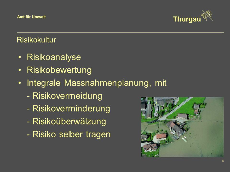 Amt für Umwelt Thurgau 5 Risikokultur Risikoanalyse Risikobewertung Integrale Massnahmenplanung, mit - Risikovermeidung - Risikoverminderung - Risikoüberwälzung - Risiko selber tragen