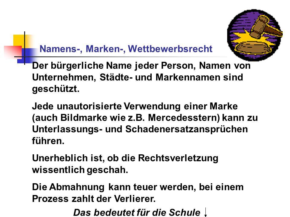 Namens-, Marken-, Wettbewerbsrecht Der bürgerliche Name jeder Person, Namen von Unternehmen, Städte- und Markennamen sind geschützt. Jede unautorisier
