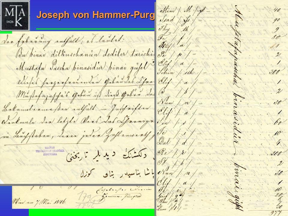 Joseph von Hammer-Purgstall, 1846 MTAK, RAL 179/1846