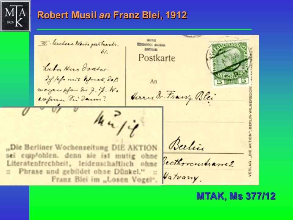 Robert Musil an Franz Blei, 1912 MTAK, Ms 377/12