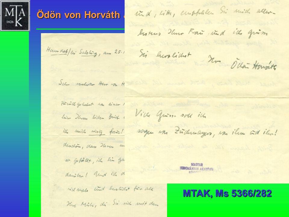 Ödön von Horváth an Lajos Hatvany, 1937 MTAK, Ms 5366/282