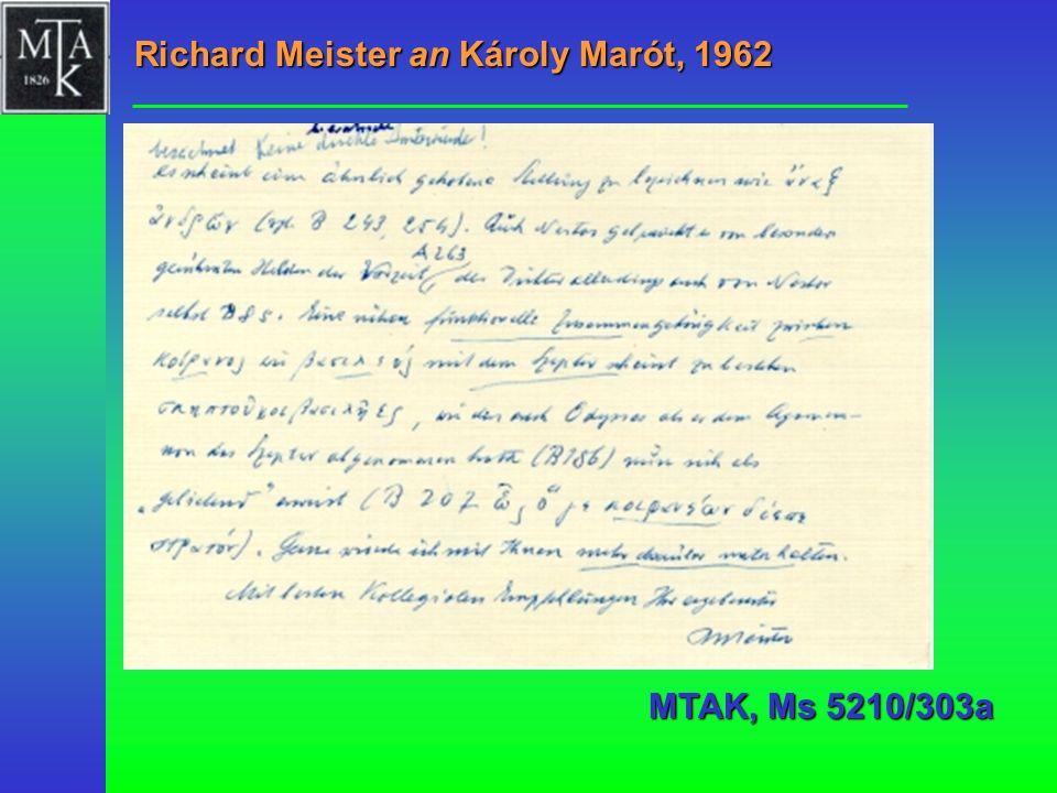Richard Meister an Károly Marót, 1962 MTAK, Ms 5210/303a
