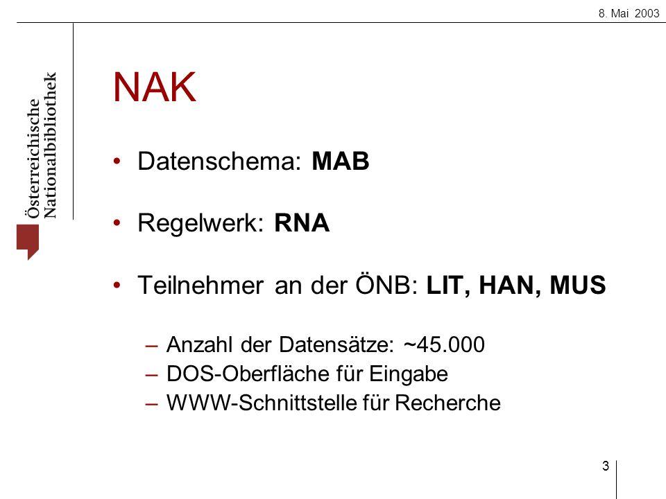 8. Mai 2003 3 NAK Datenschema: MAB Regelwerk: RNA Teilnehmer an der ÖNB: LIT, HAN, MUS –Anzahl der Datensätze: ~45.000 –DOS-Oberfläche für Eingabe –WW