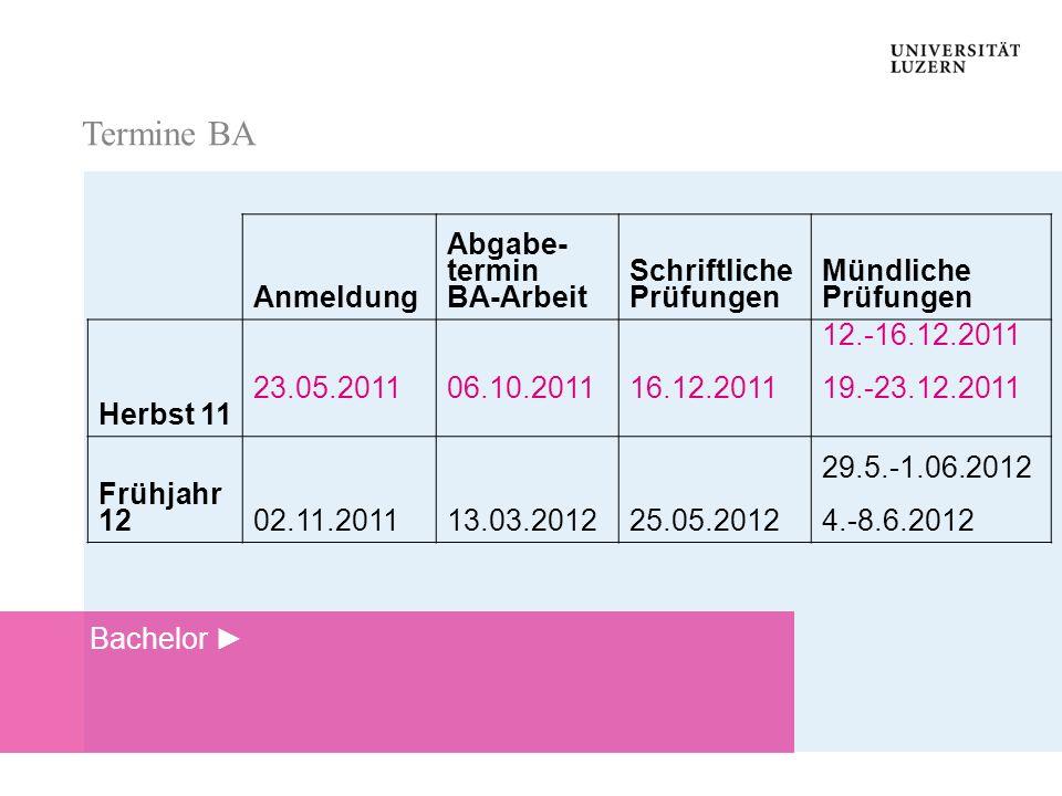 Termine BA Termine BA Anmeldung Abgabe- termin BA-Arbeit Schriftliche Prüfungen Mündliche Prüfungen Herbst 11 23.05.201106.10.201116.12.2011 12.-16.12