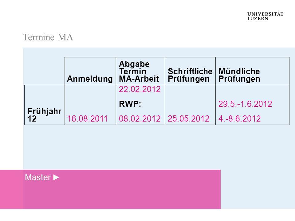 Termine MA Termine MA Anmeldung Abgabe Termin MA-Arbeit Schriftliche Prüfungen Mündliche Prüfungen Frühjahr 1216.08.2011 22.02.2012 RWP: 08.02.201225.