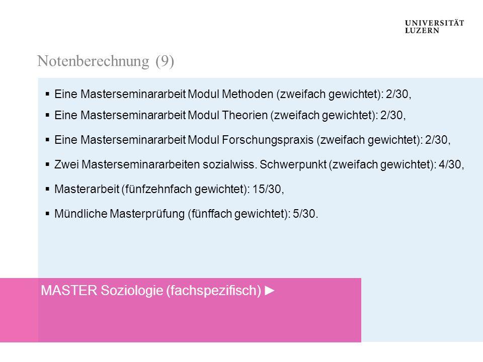Notenberechnung Notenberechnung Eine Masterseminararbeit Modul Methoden (zweifach gewichtet): 2/30, Eine Masterseminararbeit Modul Theorien (zweifach