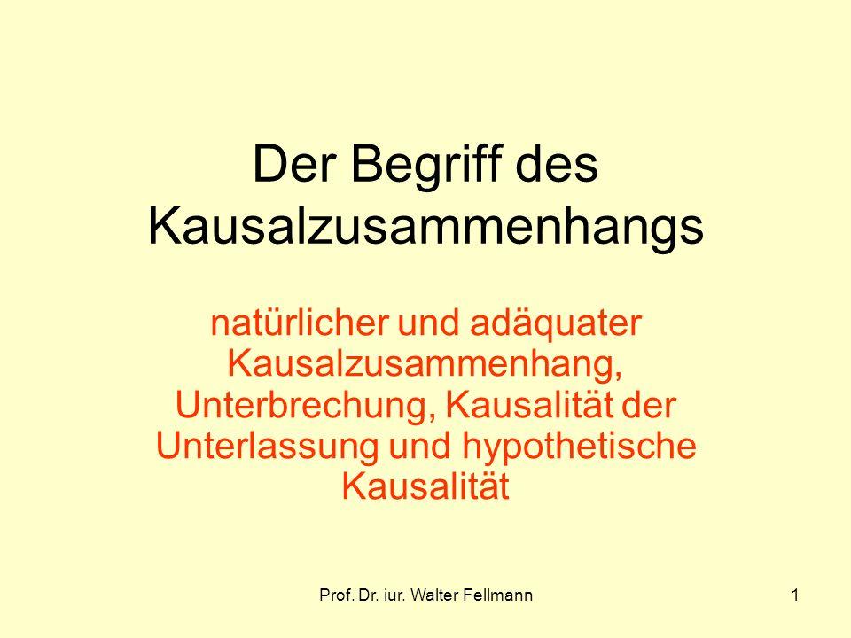 Prof. Dr. iur. Walter Fellmann1 Der Begriff des Kausalzusammenhangs natürlicher und adäquater Kausalzusammenhang, Unterbrechung, Kausalität der Unterl