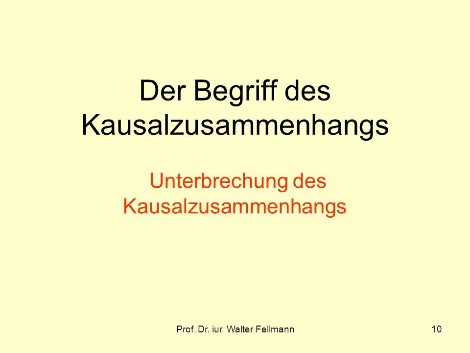 Prof. Dr. iur. Walter Fellmann10 Der Begriff des Kausalzusammenhangs Unterbrechung des Kausalzusammenhangs