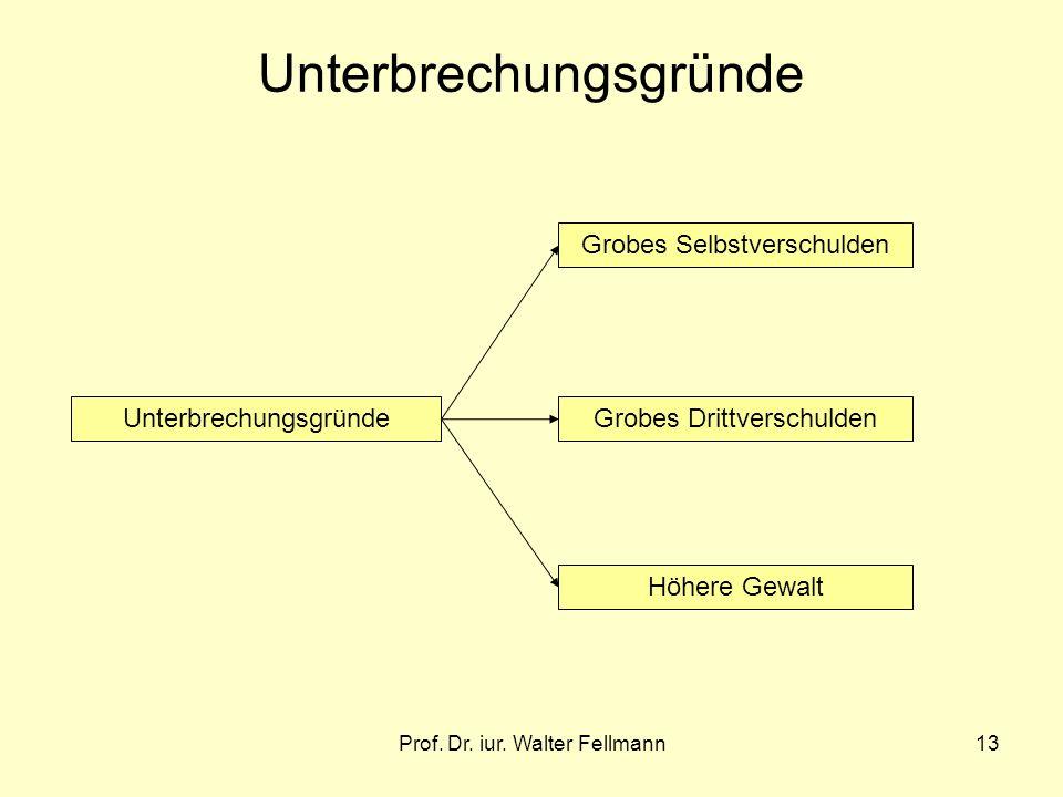 Prof. Dr. iur. Walter Fellmann13 Unterbrechungsgründe Grobes Selbstverschulden Höhere Gewalt Grobes Drittverschulden