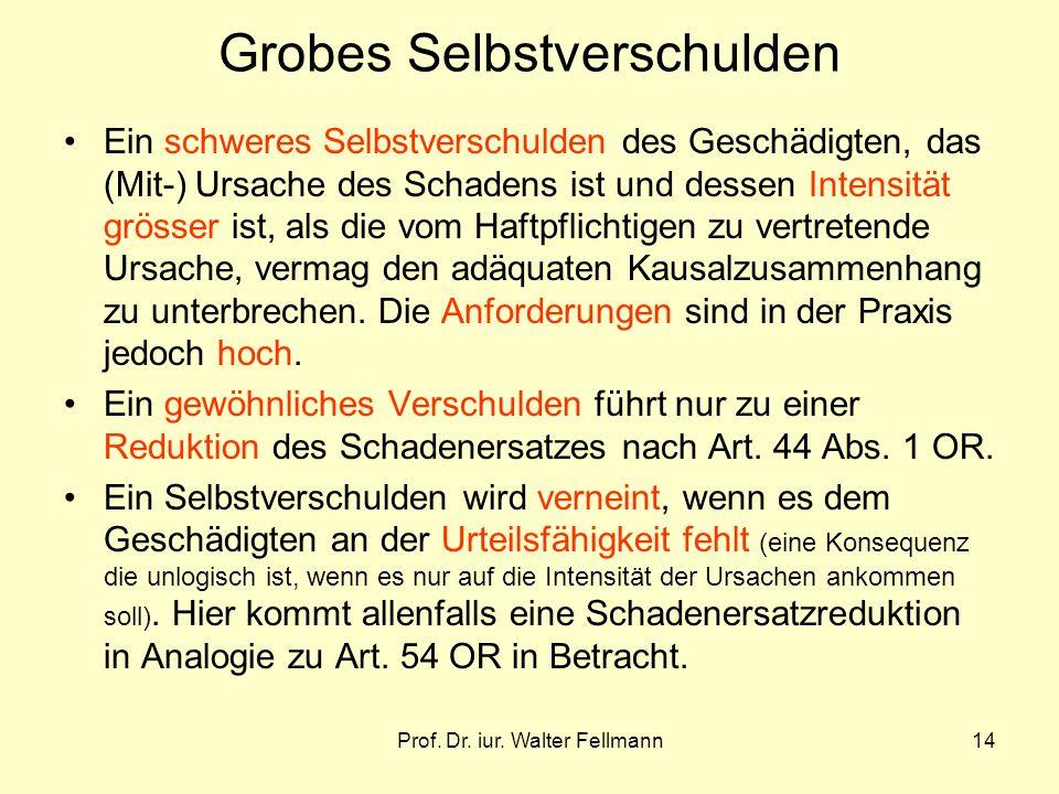 Prof. Dr. iur. Walter Fellmann14 Grobes Selbstverschulden Ein schweres Selbstverschulden des Geschädigten, das (Mit-) Ursache des Schadens ist und des