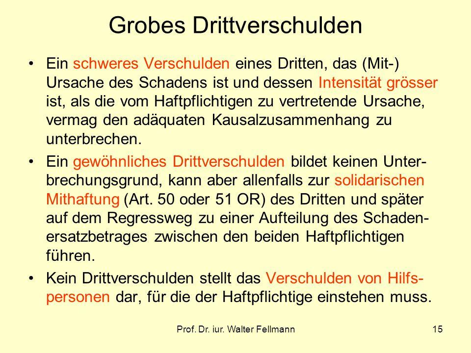 Prof. Dr. iur. Walter Fellmann15 Grobes Drittverschulden Ein schweres Verschulden eines Dritten, das (Mit-) Ursache des Schadens ist und dessen Intens