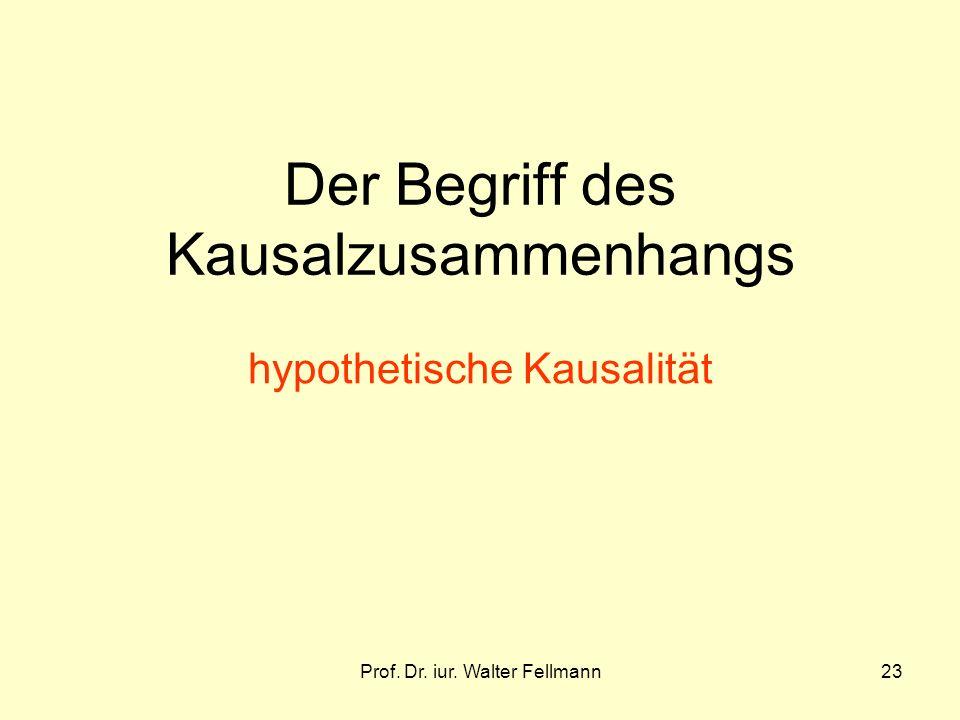 Prof. Dr. iur. Walter Fellmann23 Der Begriff des Kausalzusammenhangs hypothetische Kausalität