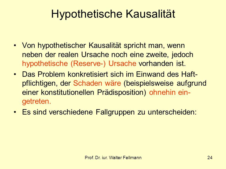 Prof. Dr. iur. Walter Fellmann24 Hypothetische Kausalität Von hypothetischer Kausalität spricht man, wenn neben der realen Ursache noch eine zweite, j