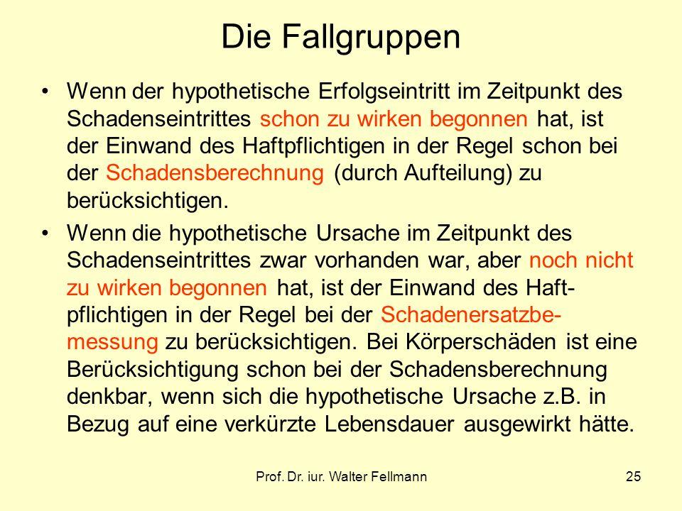 Prof. Dr. iur. Walter Fellmann25 Die Fallgruppen Wenn der hypothetische Erfolgseintritt im Zeitpunkt des Schadenseintrittes schon zu wirken begonnen h