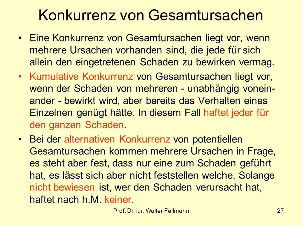 Prof. Dr. iur. Walter Fellmann27 Konkurrenz von Gesamtursachen Eine Konkurrenz von Gesamtursachen liegt vor, wenn mehrere Ursachen vorhanden sind, die