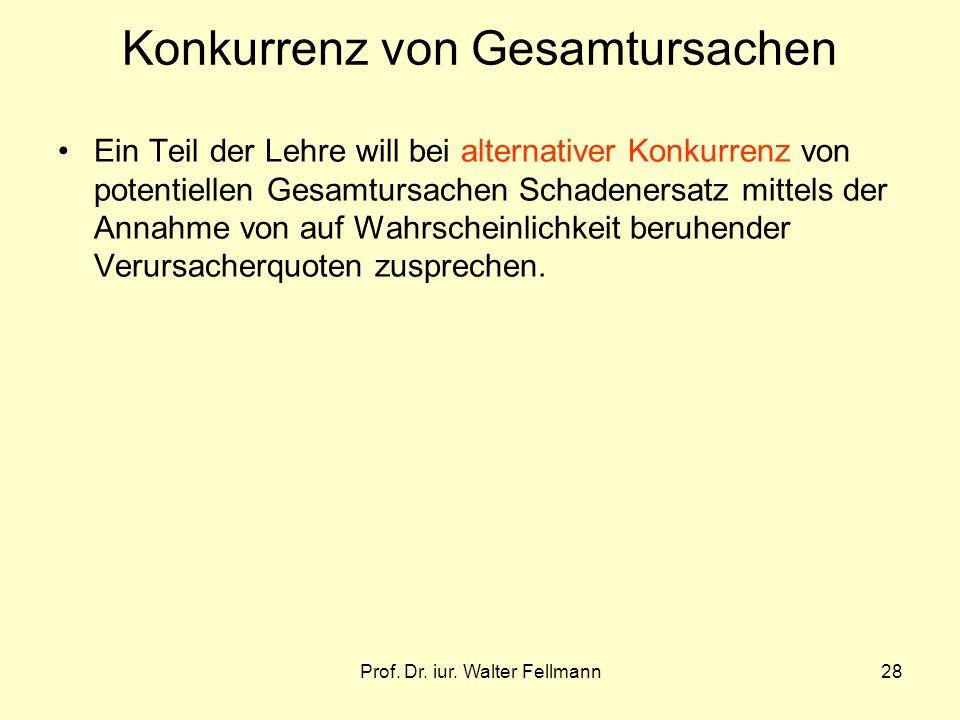Prof. Dr. iur. Walter Fellmann28 Konkurrenz von Gesamtursachen Ein Teil der Lehre will bei alternativer Konkurrenz von potentiellen Gesamtursachen Sch
