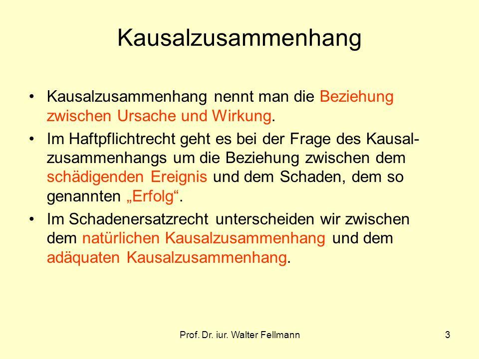 Prof. Dr. iur. Walter Fellmann3 Kausalzusammenhang Kausalzusammenhang nennt man die Beziehung zwischen Ursache und Wirkung. Im Haftpflichtrecht geht e