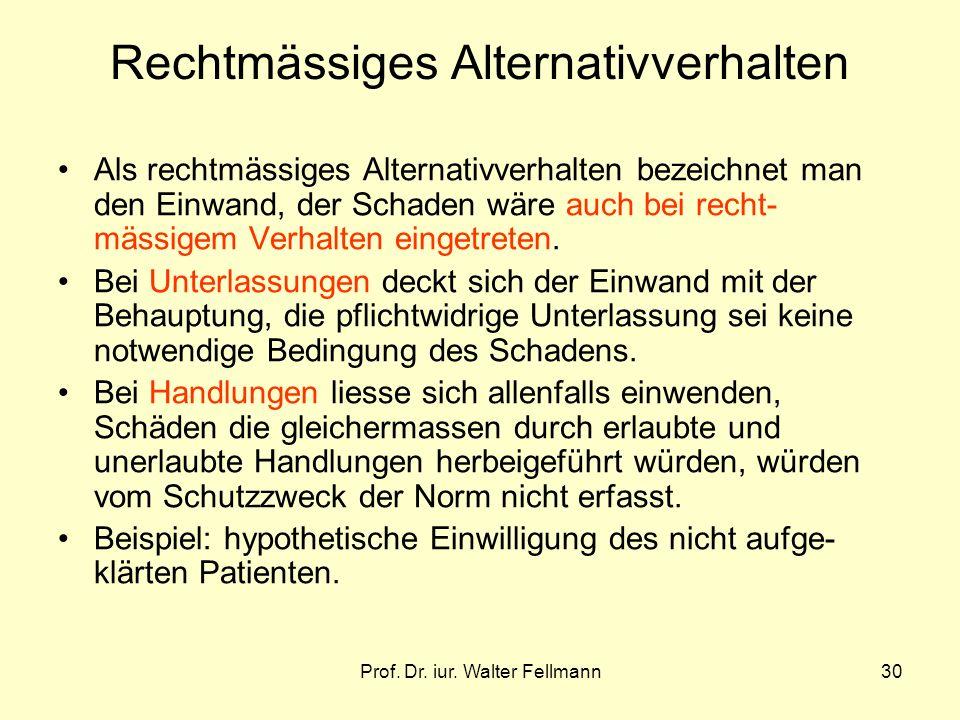 Prof. Dr. iur. Walter Fellmann30 Rechtmässiges Alternativverhalten Als rechtmässiges Alternativverhalten bezeichnet man den Einwand, der Schaden wäre