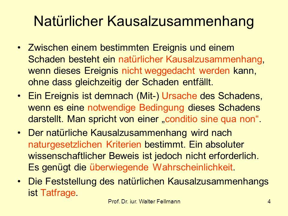 Prof. Dr. iur. Walter Fellmann4 Natürlicher Kausalzusammenhang Zwischen einem bestimmten Ereignis und einem Schaden besteht ein natürlicher Kausalzusa