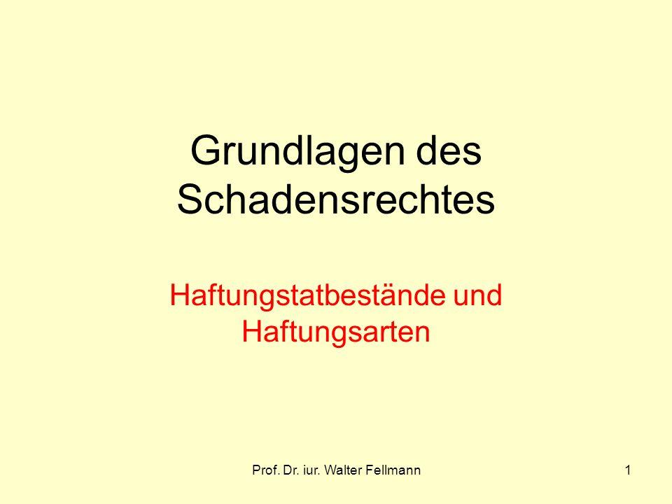 Prof. Dr. iur. Walter Fellmann1 Grundlagen des Schadensrechtes Haftungstatbestände und Haftungsarten