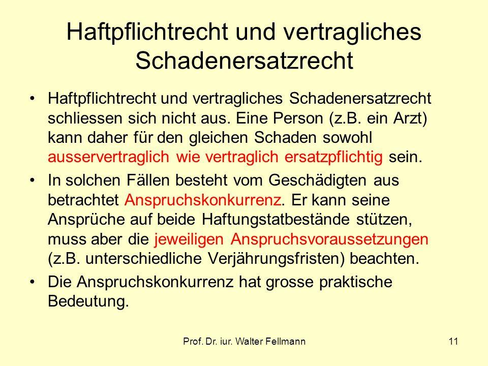 Prof. Dr. iur. Walter Fellmann11 Haftpflichtrecht und vertragliches Schadenersatzrecht Haftpflichtrecht und vertragliches Schadenersatzrecht schliesse