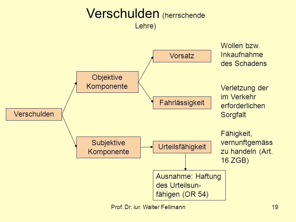 Prof. Dr. iur. Walter Fellmann19 Verschulden Objektive Komponente Subjektive Komponente Urteilsfähigkeit Vorsatz Fahrlässigkeit Fähigkeit, vernunftgem