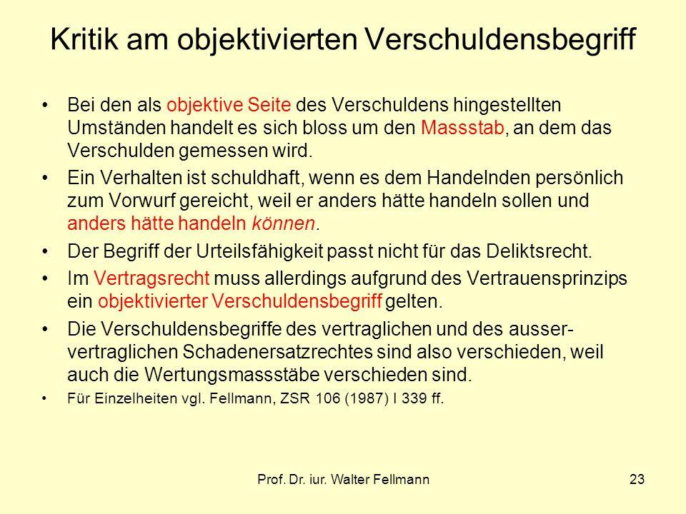 Prof. Dr. iur. Walter Fellmann23 Kritik am objektivierten Verschuldensbegriff Bei den als objektive Seite des Verschuldens hingestellten Umständen han