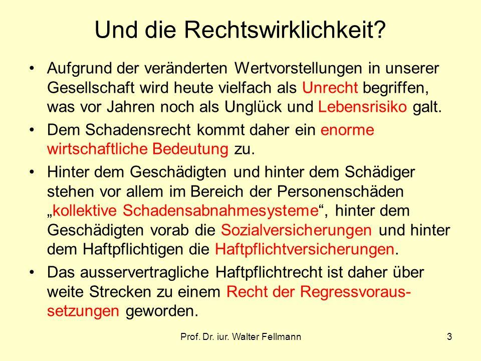 Prof. Dr. iur. Walter Fellmann3 Und die Rechtswirklichkeit? Aufgrund der veränderten Wertvorstellungen in unserer Gesellschaft wird heute vielfach als