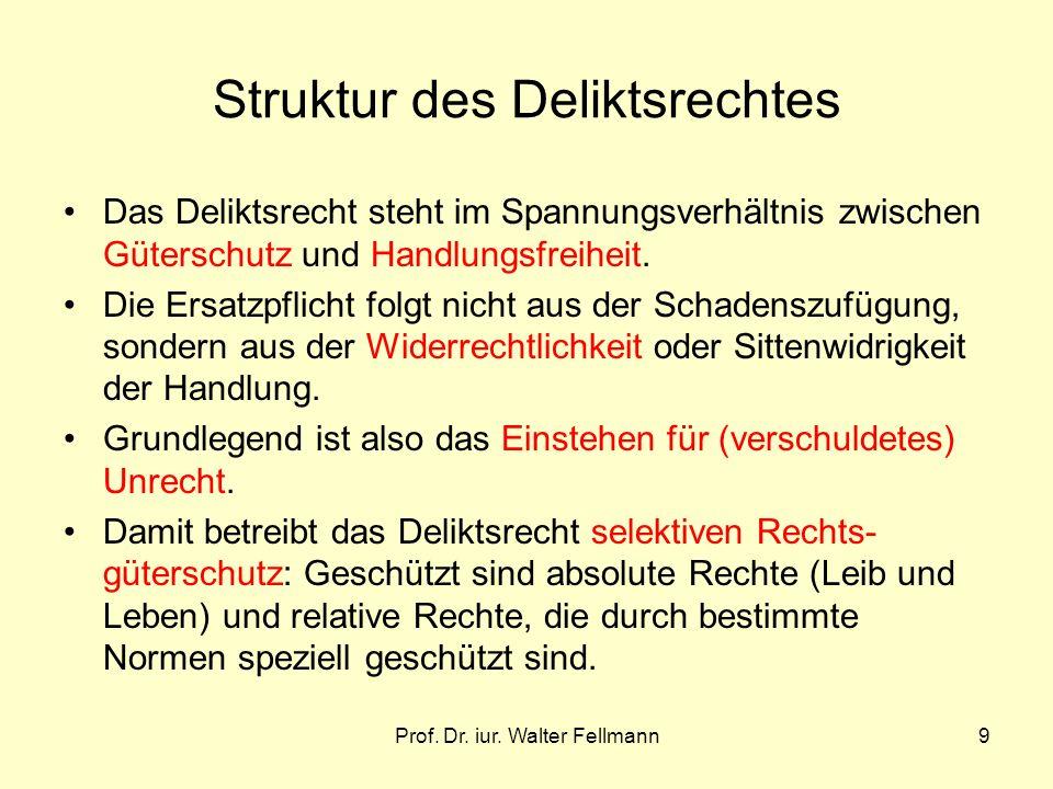 Prof. Dr. iur. Walter Fellmann9 Struktur des Deliktsrechtes Das Deliktsrecht steht im Spannungsverhältnis zwischen Güterschutz und Handlungsfreiheit.