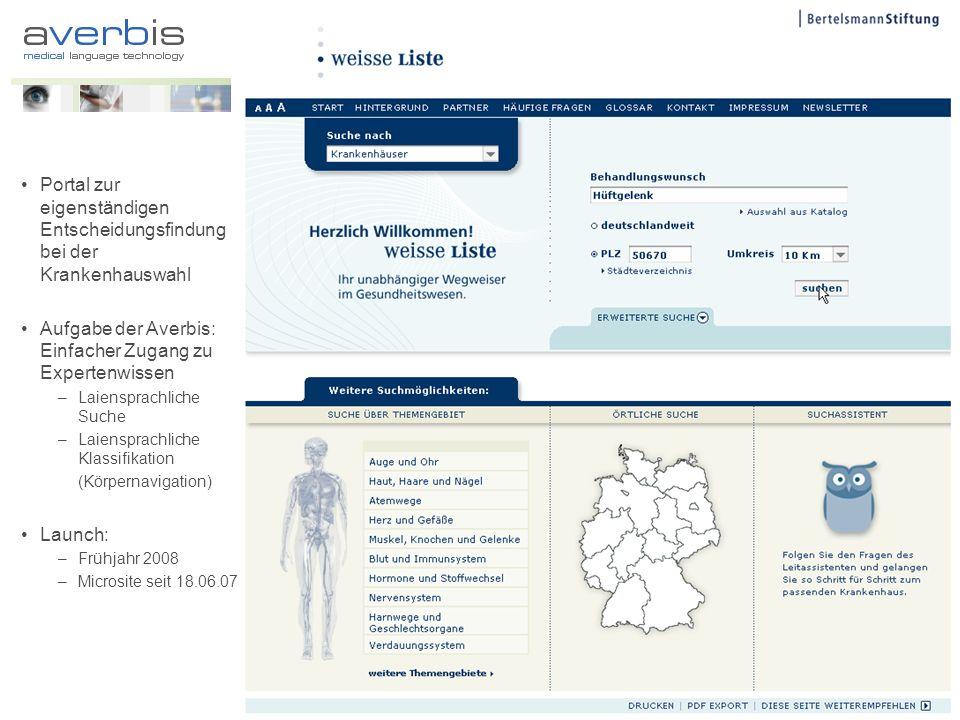 Portal zur eigenständigen Entscheidungsfindung bei der Krankenhauswahl Aufgabe der Averbis: Einfacher Zugang zu Expertenwissen –Laiensprachliche Suche