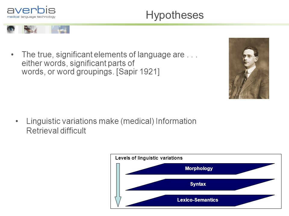 Hypotheses The true, significant elements of language are...