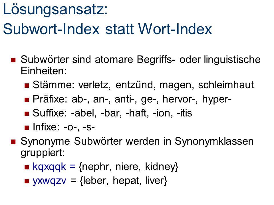 Lösungsansatz: Subwort-Index statt Wort-Index Subwörter sind atomare Begriffs- oder linguistische Einheiten: Stämme: verletz, entzünd, magen, schleimhaut Präfixe: ab-, an-, anti-, ge-, hervor-, hyper- Suffixe: -abel, -bar, -haft, -ion, -itis Infixe: -o-, -s- Synonyme Subwörter werden in Synonymklassen gruppiert: kqxqqk = {nephr, niere, kidney} yxwqzv = {leber, hepat, liver}