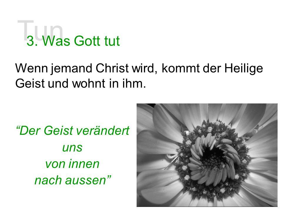 Tun 3. Was Gott tut Wenn jemand Christ wird, kommt der Heilige Geist und wohnt in ihm. Der Geist verändert uns von innen nach aussen