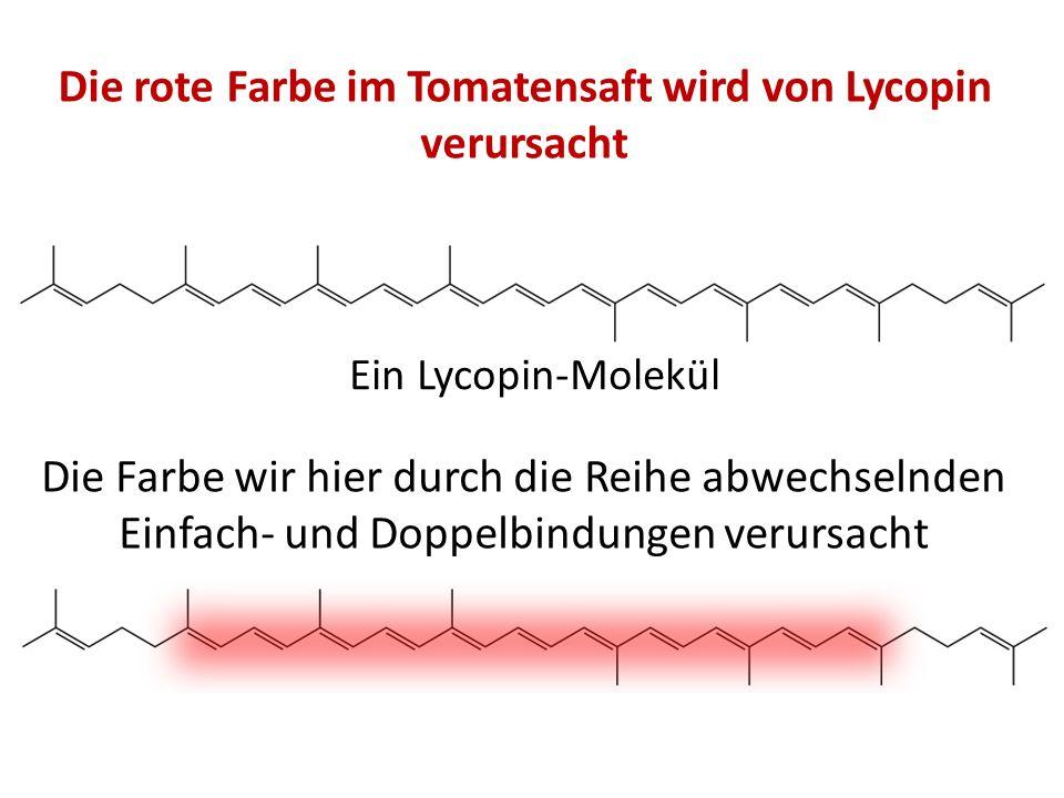 Die rote Farbe im Tomatensaft wird von Lycopin verursacht Ein Lycopin-Molekül Die Farbe wir hier durch die Reihe abwechselnden Einfach- und Doppelbind