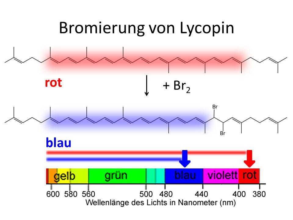 + Br 2 rot blau Bromierung von Lycopin