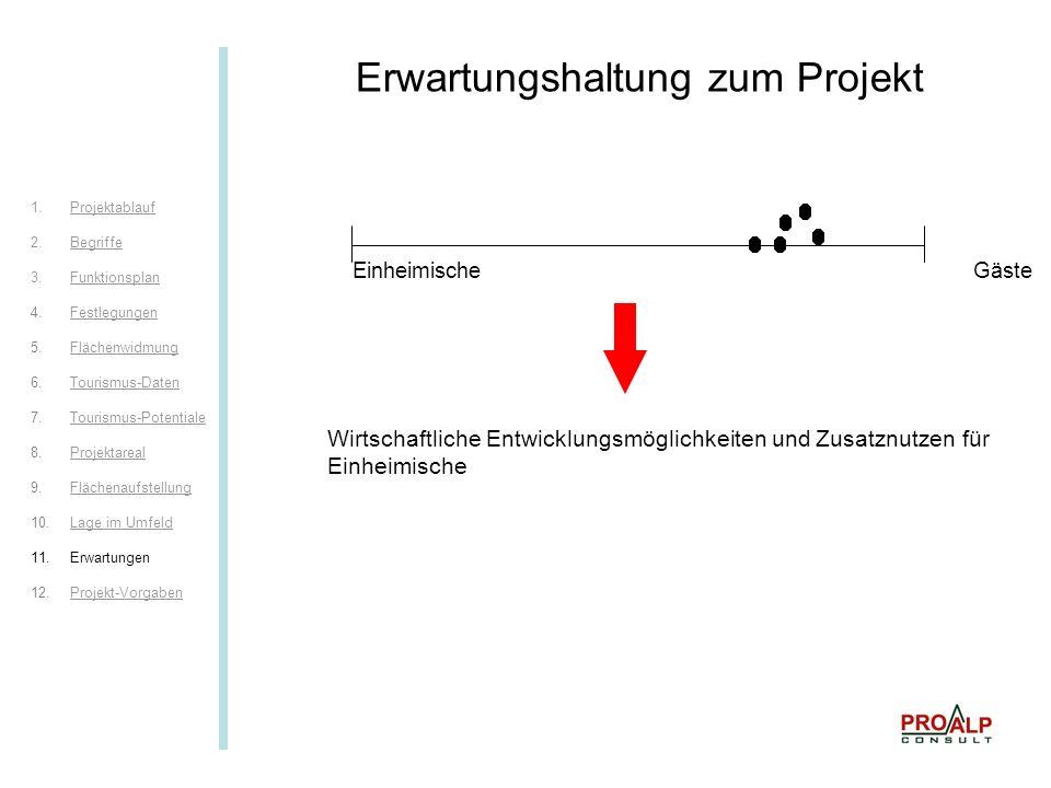 Erwartungen I Erwartungshaltung zum Projekt Wirtschaftliche Entwicklungsmöglichkeiten und Zusatznutzen für Einheimische Einheimische Gäste 1.ProjektablaufProjektablauf 2.BegriffeBegriffe 3.FunktionsplanFunktionsplan 4.FestlegungenFestlegungen 5.FlächenwidmungFlächenwidmung 6.Tourismus-DatenTourismus-Daten 7.Tourismus-PotentialeTourismus-Potentiale 8.ProjektarealProjektareal 9.FlächenaufstellungFlächenaufstellung 10.Lage im UmfeldLage im Umfeld 11.Erwartungen 12.Projekt-VorgabenProjekt-Vorgaben