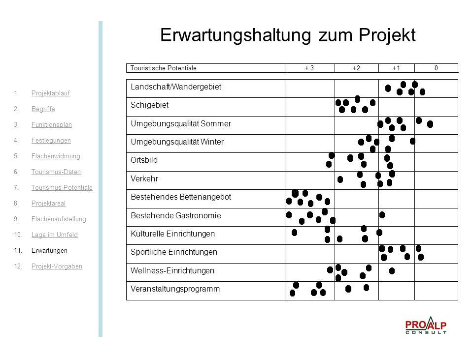 Erwartungen II Erwartungshaltung zum Projekt 1.ProjektablaufProjektablauf 2.BegriffeBegriffe 3.FunktionsplanFunktionsplan 4.FestlegungenFestlegungen 5.FlächenwidmungFlächenwidmung 6.Tourismus-DatenTourismus-Daten 7.Tourismus-PotentialeTourismus-Potentiale 8.ProjektarealProjektareal 9.FlächenaufstellungFlächenaufstellung 10.Lage im UmfeldLage im Umfeld 11.Erwartungen 12.Projekt-VorgabenProjekt-Vorgaben
