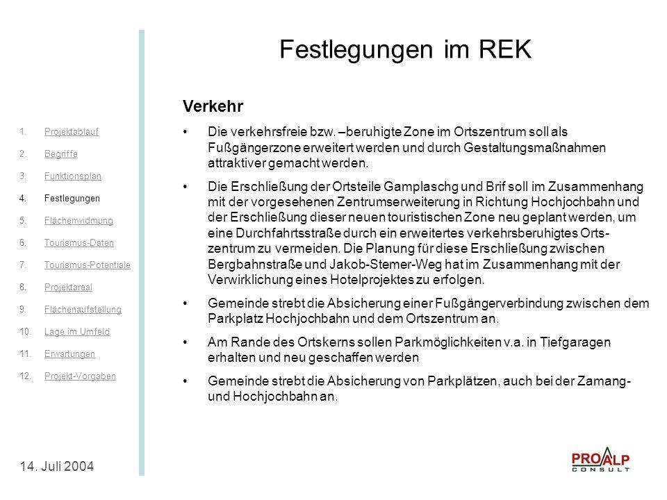 Festlegungen im REK IV 14.Juli 2004 Festlegungen im REK Verkehr Die verkehrsfreie bzw.